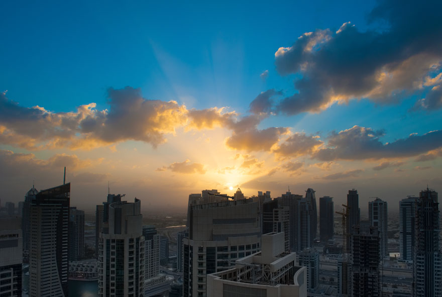 Sunrise over Dubai marina