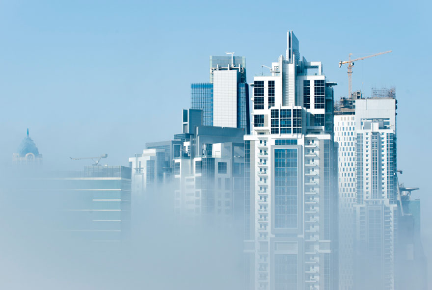 Business Bay – foggy morning